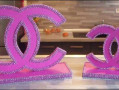 Décoration chanel rose et strass